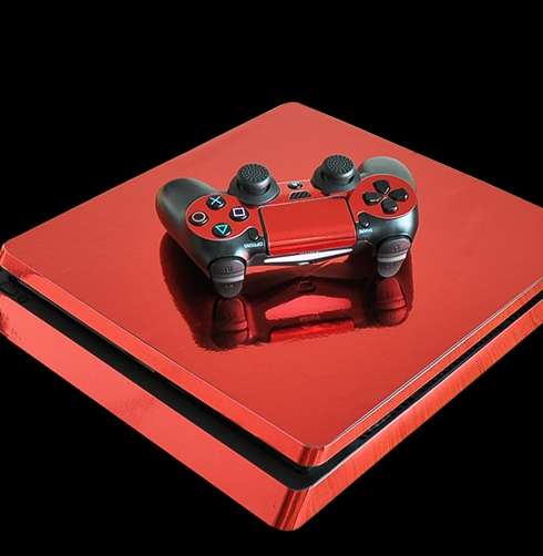 PS4 Slim Chrome Red Sticker